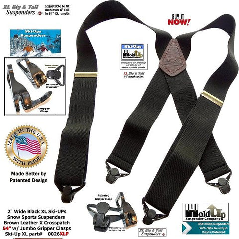 "Holdup Black 2"" wide SKI-Ups with jumbo gripper clasps and brown leather X-back crosspatch embossed with Holdup logo"