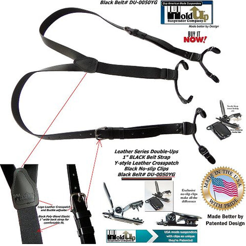 American made black clip-on BELT STRAP STYLE Leather Double-Ups by Holdup Suspender Company are made in the USA with genuine Bonded leather 1 inch wide straps.