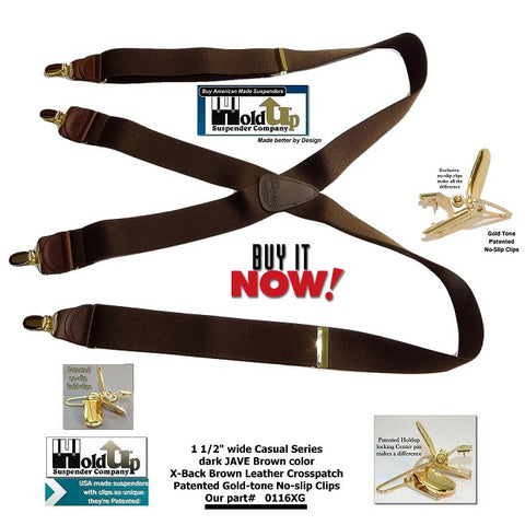 "Holdup Suspender Company introduces the dark ""JAVA Brown"" X-back suspenders with Gold-tine no-slip clips which are made in the USA."