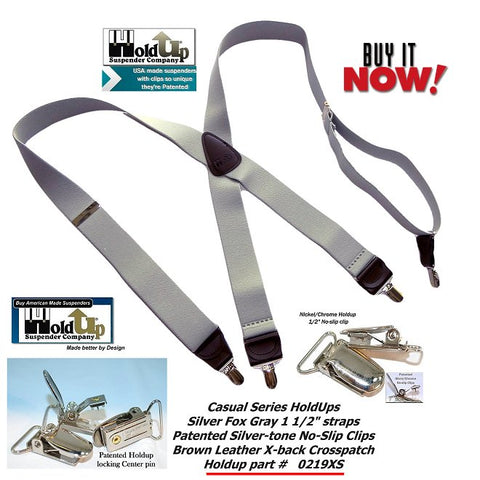 Silver Fox Light Gray casual pant clip-on suspenders made in the USA with patented silver tone no-slip clips