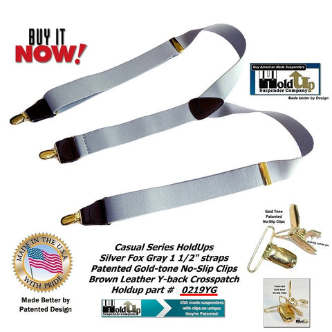 USA made nice light Silver Fox grey Holdup Y-back suspenders with gold-tone no-slip clips