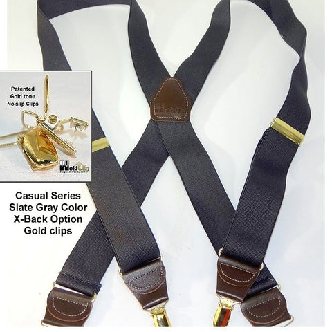 Dark Slate Grey Holdup Casual Series clip-on suspenders in X-back style and gold tone no-slip clips