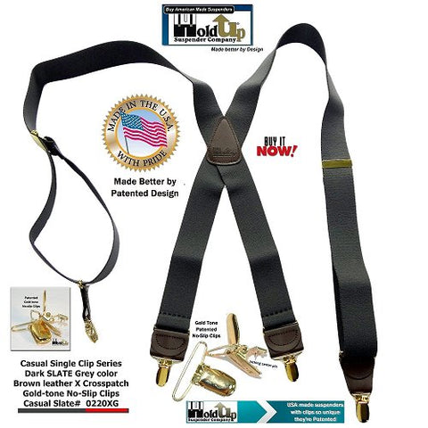 Casual Series Holdup Suspenders in dark Slate Grey color in X-back style with patented gold-tone no-slip clips