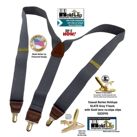 Casual Series Slate dark grey Holdup Y-back suspenders with patented Gold tone no0-slip clips