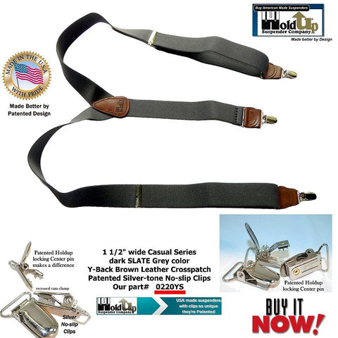 Casual Series Holdup Y-back suspenders with patented Silver-tone No-slip Clips are made in the USA