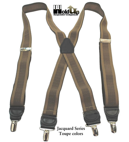 "Holdup Suspender Company Jacquard Series men's suspender in a tan""TAUPE"" and light brown jacquard weave color mix"