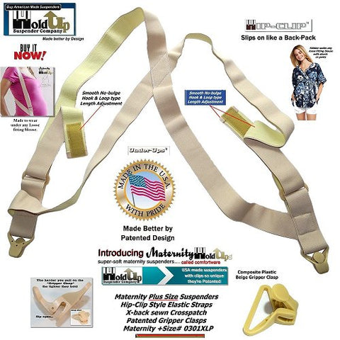Hidden Soft Undergarment Maternity suspenders with patented strong gripper clasps
