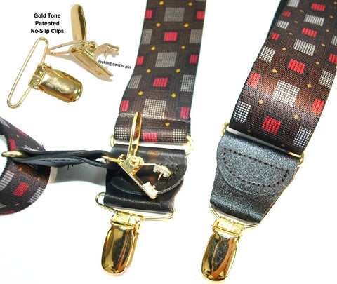 Designer Series Holdup suspenders are made in the USA with patented no-slip gold tone slips
