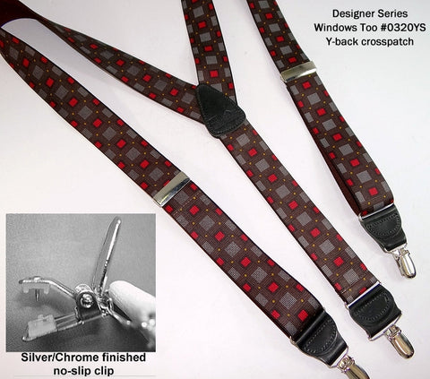 Holdup Designer Series - WINDOWS TOO pattern clip-on suspenders feature our patented silver tone No-slip clip