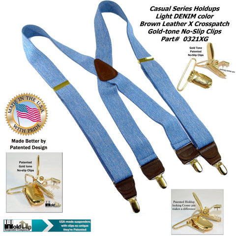 Casual Series Blue Denim color Holdup X-back suspenders with patented No-slip Gold tone Clips
