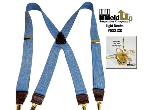 Casual Series Holdup suspenders in light blue denim color with X-back brown leather crosspatch and Gold tone patented no-slip clips