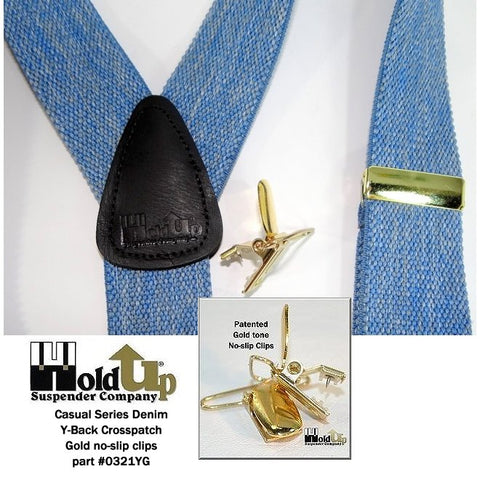 Light Blue Denim Casual Series X-back Holdup suspenders with Gold tone no-slip clips