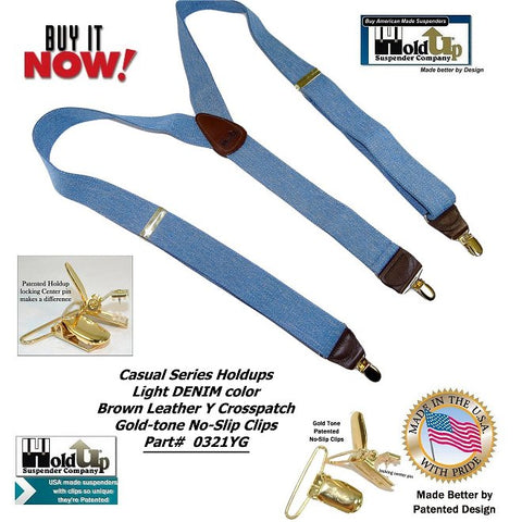 Casual Series single clip Holdup suspenders in a light blue DENIM color with brown genuine leather logo embossed crosspatch in Y-back style