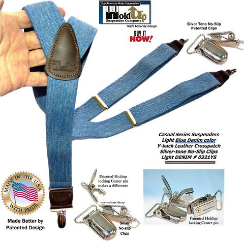 Holdup Light Blue Denim Suspenders Y-back men's suspenders with Patented No-slip Silver-tone Clips are made in the USA