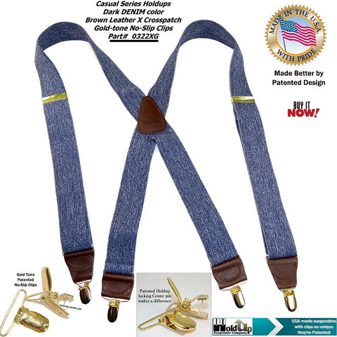 Casual Series Holdup X-back suspender in Dark denim color with patented gold tone no-slip clips