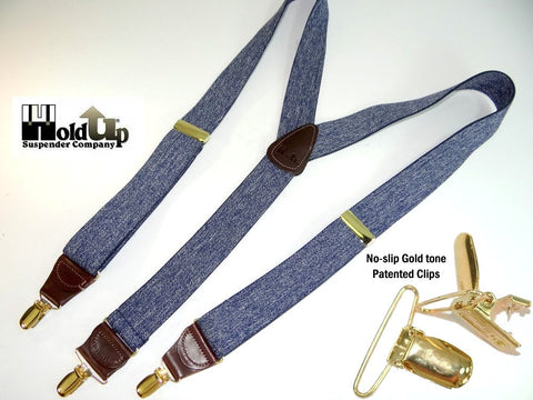Casual Series Holdup suspEnders in Y-back style and dark blue denim color is made in the USA