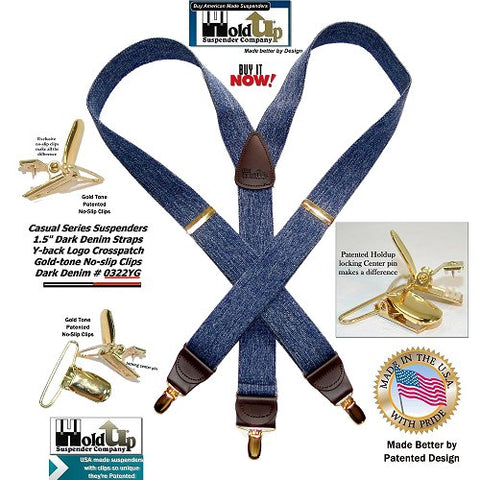 Dark Denim Holdup casual Series suspenders with brown leather Y-back crosspatch embossed with our trademarked Holdup logo