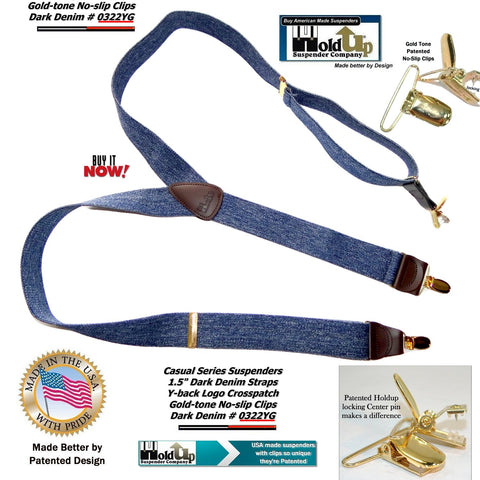Casual Series USA made Y-back Dark Denim colored Holdup Suspenders with gold no-slip center pin clips