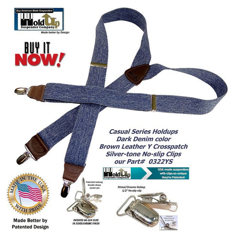 Casual Holdup suspnders in Y-back style with dark blue denim color and silve No-slip clips and brown leather trim and crosspatch.