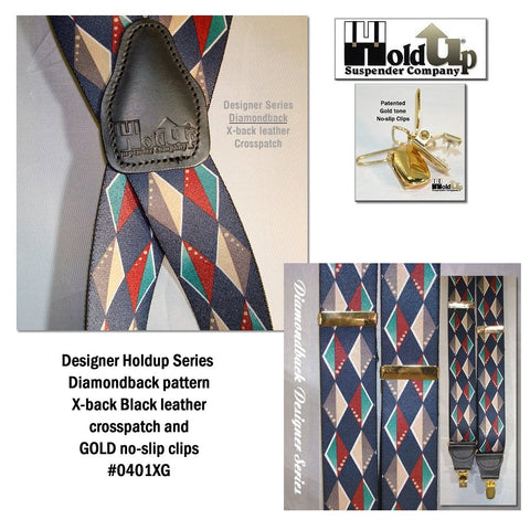 The diamondback pattern is part of Holdup® Suspenders Designer series clip-on patented suspenders