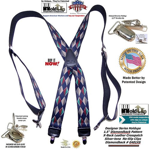 Holdup Suspender Company Designer Series in colorful DIAMOND BACK pattern X-back suspenders with patented silver tone no-slip clips