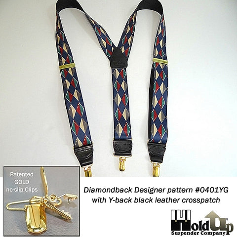 Designer Series Holdups in the beautiful Diamondback pattern of contrasting blues,grays,burgundy diamonds and Y-back style with gold tone no-slip clips.