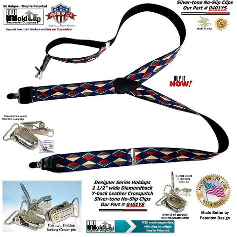 American made Designer Holdup Suspenders in diamondback pattern with silver no-slip clips and Y-back black leather logo embossed crosspatch
