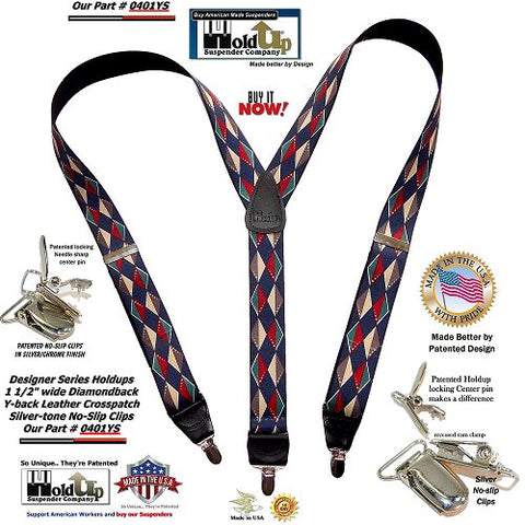 Holdup Diamondback Pattern Y-back Suspenders with Patented No-slip Silver-tone Clips