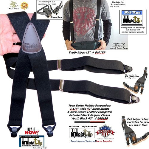 Black Ski-Up snow ski clip-on Holdup Teenager sized X-back suspenders with Patented Gripper clasps