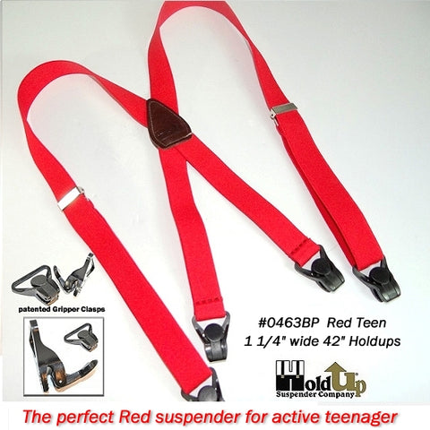 "1"" wide and 36"" long Red Holdups® for kids with leather X-back and Black Gripper Clasps"