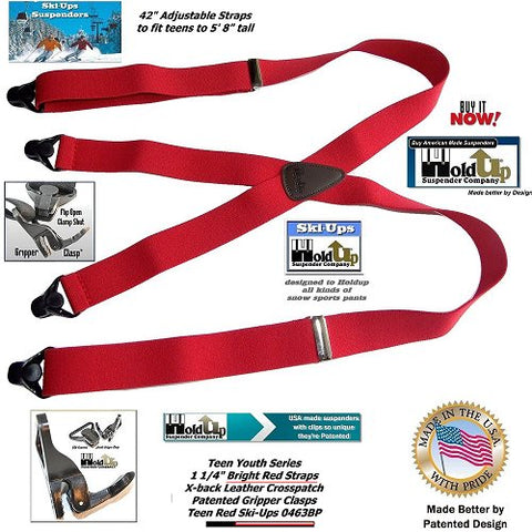 "HoldUp Brand 42"" Teen Red X-back Suspenders with 1 1/4"" wide straps and Patented Gripper Clasps made better in the America by Patented design."