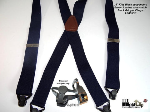 "Made in the USA kids Black Holdup X-back suspenders with Gripper Clasps in 36"" length"