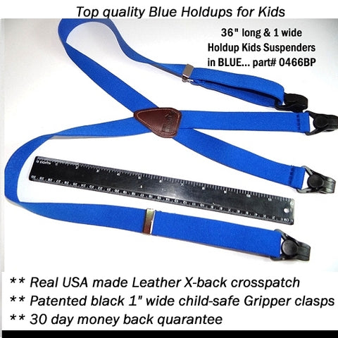"1"" wide and 36"" long Blue Hold-ups® for kids with leather X-back and Black Gripper Clasps"