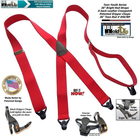 Holdup small Kids sized X-back Red suspenders with patented Gripper clasps and they're made in the USA