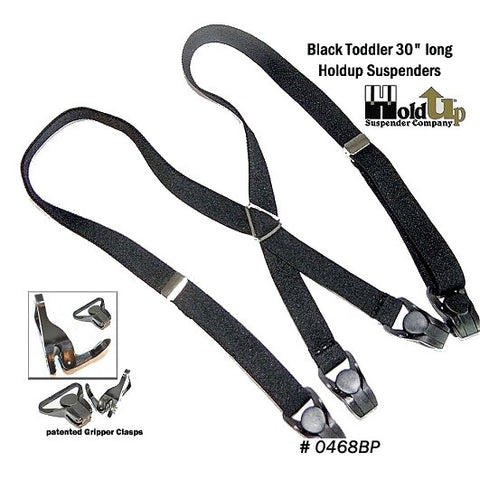 Kids black Holdup suspenders made for toddlers with black patented gripper clasps