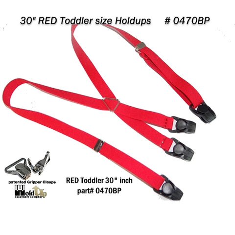 "USA made 30"" toddler sized RED suspenders with patented black composite plastic Gripper Clasps"