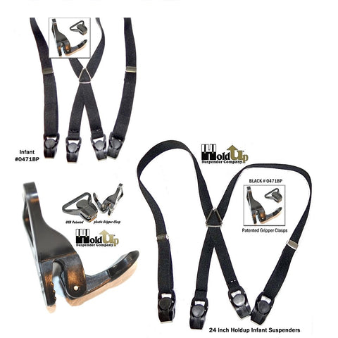 Holdup toddler x-back black suspenders with gripper clasps