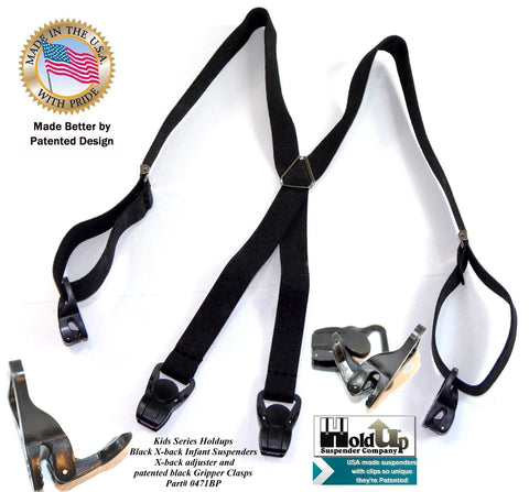 "Black 24"" infabnt sized Holdup Suspenders with X-back style and adjustable USA made straps with patented small Gripper Clasps"