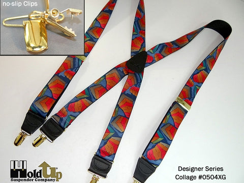 Designer Series Collage pattern X-back suspenders with Gold tone no-slip clips