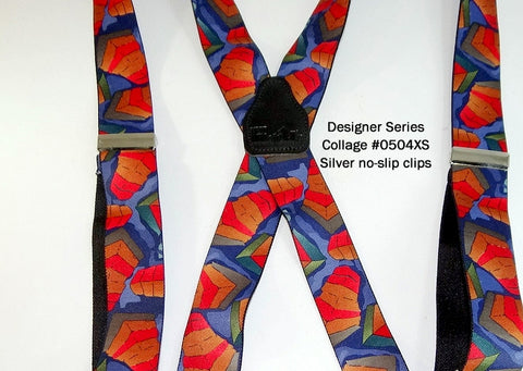 Designer Series Holdup Suspenders in the Collage of Fall colors pattern