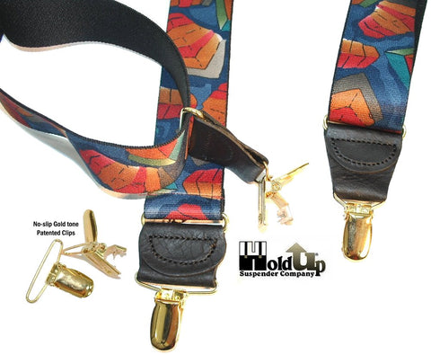 Colorful Collage of Fall colors Holdup designer suspenders have a Y-back crosspatch and gold no-slip clips