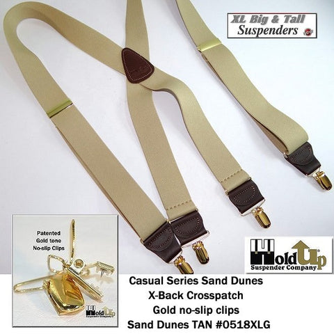 Extra Long XL Sand Dunes TAN Holdup X-back suspenders with patented gold tone no-slip clips