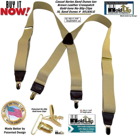 "Sand Dune light Tan X-back suspenders goes with jeans or business pants and these are made in the USA and these are in the 54"" Big & Tall size"