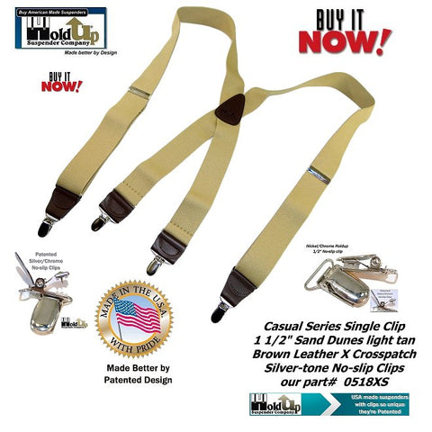 Casual Series Sand Dunes light tan X-back suspenders with Holdup's exclusive silver-tone No-slip Clips