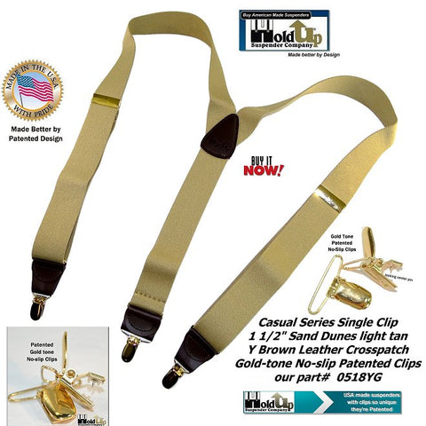 light tan men's Y-back suspender made in the USA by Holdup Suspender Company with gold-tone patented no-slip clips