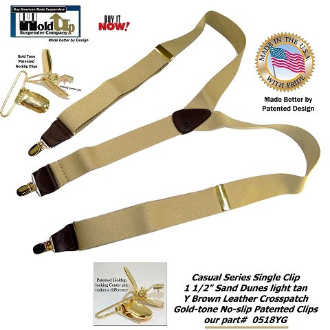 Casual Series USA made Holdup light Sand Dunes Tan men's clip-on suspenders with brown leathr Y-back Styles Crosspatch.