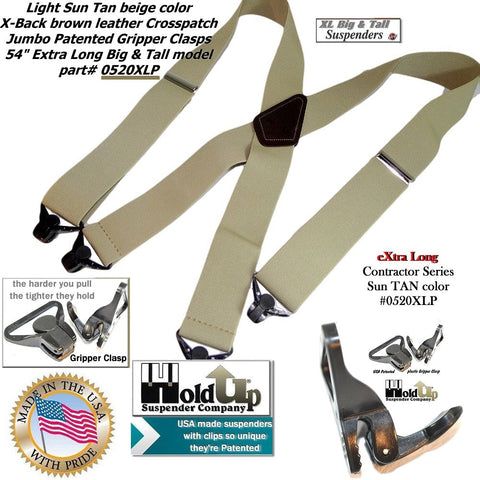 2x4 Contractor series Holdup wide work X-back tan XL big and tan man's work suspender that has 4 US Patented Jumbo GRIPPER CLASPS