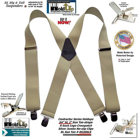 Holdup Brand XL Big and Tall Sun-Tan X-back wide work Suspenders and No-slip Jumbo Silver Clips