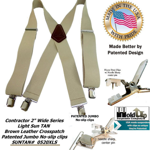 Suntan 2 inch wide light beige XL work suspenders made in the USA by Holdup Suspender Company with Patented no-slip jumbo clips