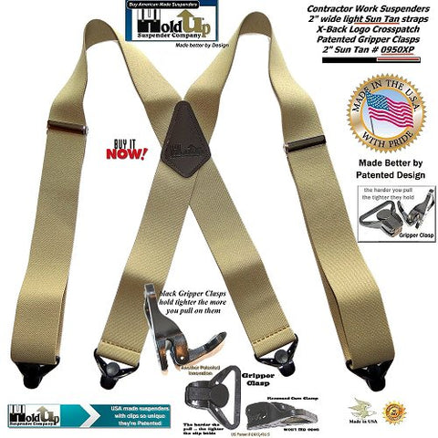 Sun Tan Gripper Clasp modekl of the 2 inch wide Holdup Contractor Series work suspenders